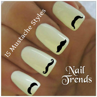 Mustache Nail Decal Movember 30 Vinyl Stickers Beard Nail Art
