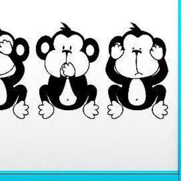 Wall Sticker Three Wise Monkey No Evil Monkey Smart Clever Intelligent  Unique Gift (z2531)