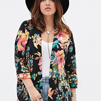 Floral-Patterned Knit Cardigan