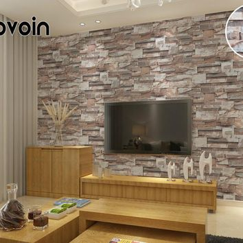 Vinyl Brown Grey Beige Nature Emboss 3D Stone Wall Paper Roll Brick Wall Wallpaper for Living Room Dinning Room Tv Background