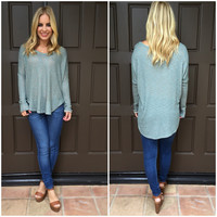 Mint Knit Long Sleeve Blouse