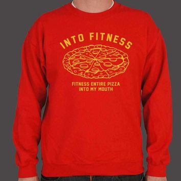 Into Fitness, Fitness Entire Pizza Into My Mouth Men's Sweatshirt