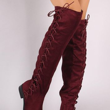 Suede Corset Lace-Up Almond Toe Over-The-Knee Riding Boots