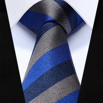 Blue Gray Stripe Slim Narrow Silk Necktie