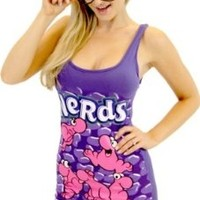 Nerds Candy Strawberry Juniors PURPLE Tunic Tank Dress with Nerd Glasses (Juniors Small)