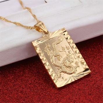 Blessing Pendant Necklace In Chinese Dragon Animal Gold Color Luck Charms Taoism Jewelry