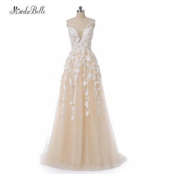 modabelle Elegent Champagne Prom Dress Tulle Pearls 2018 Vestido Festa Sheer Back Arabic Formal Evening Dresses 3D Flower Gown