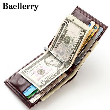 High Quality Men Wallets Male Wallet Pu Leather Men's Purse Baellerry Brand Money Clip Magnetic Buckle Small Wallet MWS162