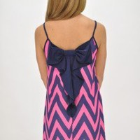 Cotton Candy Chevron Bow Back Dress | Pink and Purple | Southern Flair Boutique