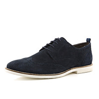 River Island MensNavy suede formal lace up brogues