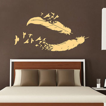 Birds Wall Decal Feather Vinyl Stikers Art Mural Home Design Interior Living Room Animal Decor KI22