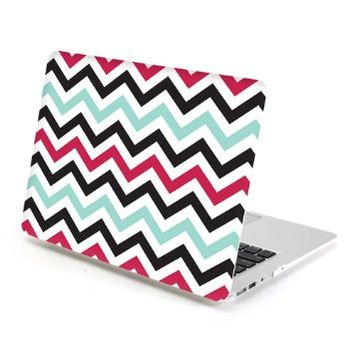 MacBook Air 13 Case, GMYLE Hard Case Print Frosted for MacBook Air 13 inch (Model: A1369 and A1466) - Turquoise Blue and Hot Pink Chevron Pattern Rubber Coated Hard Shell Case Cover