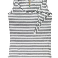 Bun Striped Long Maternity & Nursing Tank {Grey & White} (One Small Left!)