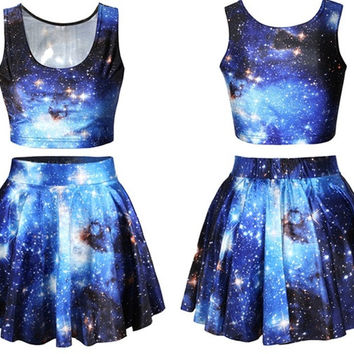Fashion Women's blue galaxy Digital Print Reversible Crop Top + Skirt 2 pieces vintage Clubwear Party (Size: M, Color: Blue) = 1946987524