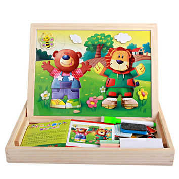 Cartoon Wooden Magnetic Puzzle Toys for Children Kids Jigsaw Baby Drawing Easel Board fidget cube Educational brinquedos LF014