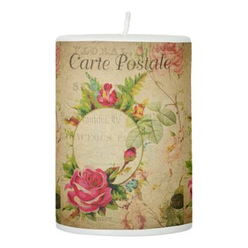 French Postcard Pillar Candle