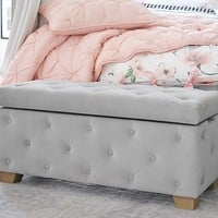 Upholstered Tufted Storage Bench, Soft Gray