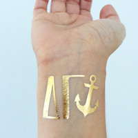 Sorority Tats! Metallic Gold Temporary Tattoos - Delta Gamma