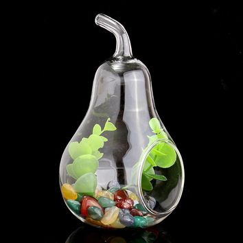 Pear Shape Glass Flower Vase Crystal Terrarium