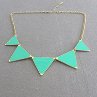 triangle shiny necklace/ Green necklace /bubble statement necklace/ bib necklace statement necklace pendant necklace