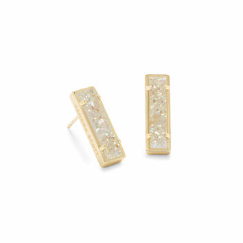 Lady Gold Stud Earrings in Platinum Drusy | Kendra Scott