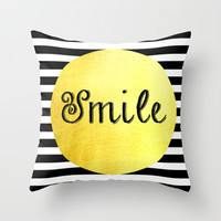 Smile Print Black, White & Gold Throw Pillow by Happy Someone