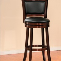 Swivel Cushioned Pub Chair With Wooden Frame In Cherry Brown