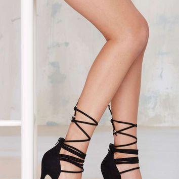 Nasty Gal Wrap Me Up Suede Heel - Black