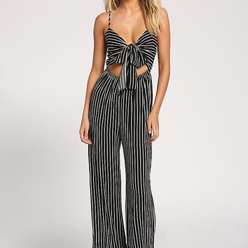 Black and White Cut Out Tie Front Jumpsuit