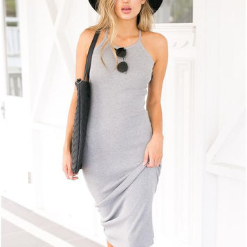 Gray Backless Halter Midi Dress