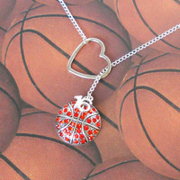 Basketball Lariat Necklace with Rhinestones by MelissaMarieRussell