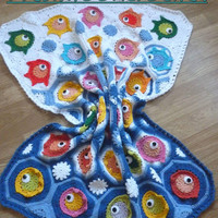 "Crochet ""FISH PUZZLE "" baby blanket, throw, crib blanket,crib comforter, indtant download pdf PATTERN,crochet baby blanket pattern"