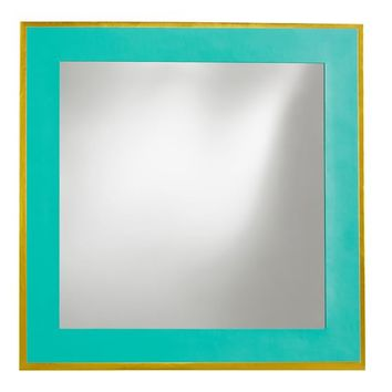 Paper Border Mirror, Aqua Blue With Gold Metallic Trim