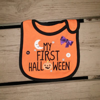 First Halloween Pumpkin Bib - Baby Boy - Baby Girl - Bow - Ready To Ship - Moon - Buttons - Costume