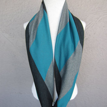 Colorblock Infinity Scarf - Teal, Black and Grey Circle Scarf - Modern Print Scarf