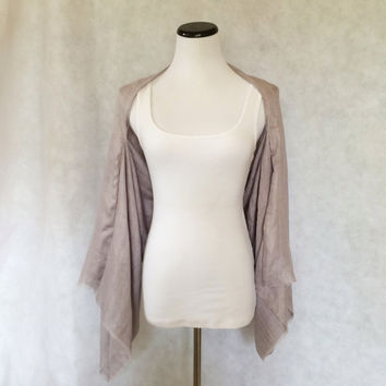 Pale Gray Silver Bamboo Gauze Fabric Kimono Shrug Flutter Butterfly Open Sleeve Cardigan Jacket Draped Sleeve Jacket Bolero Soft Wrap