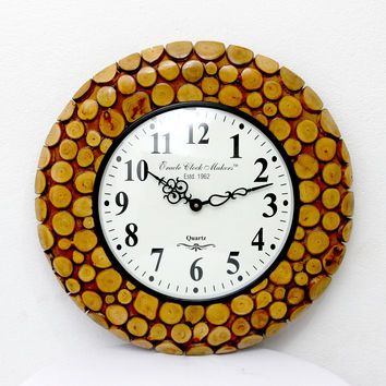 Aakashi Wooden Block Wall Clock