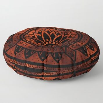Burnt Orange & Black Patterned Flower Mandala Floor Pillow by inspiredimages