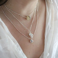 Seashell Necklace, Silver Shell Necklace, Beach Jewelry, Layered Necklace, Simple Wearable, Beach Necklace, Seashell Jewelry