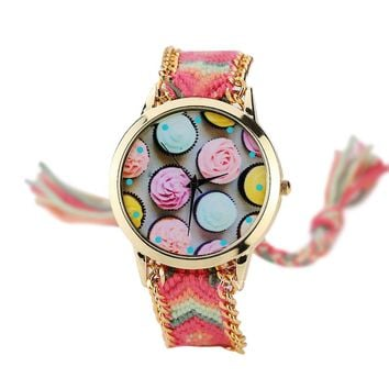 Weave Chains Fabric Strap Quartz Female Watch Ethnic Style Women Bracelet Watch Rose Flower Macaron Fashion Casual Ladies Gift