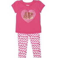 2Pc Short Sleeve Knit Top With Print Legging by Juicy Couture