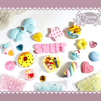 Sweet Colorful Kawaii Decoden Kit Deco Kit Cake Desserts Word Bow Bling Flatback DIY iphone case Cabochon with rhinestones DS664