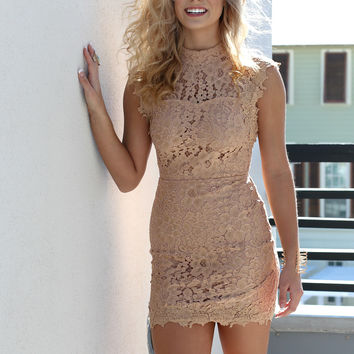 Champagne Waltz Taupe Lace Sleeveless Body Con Dress