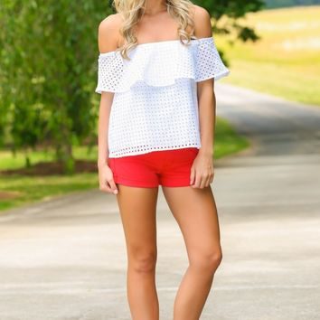Buddy Love Apple Of My Eyelet White Off-The-Shoulder Top