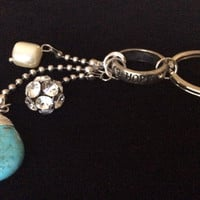 Turquoise Beaded Key Chain Handmade Silver Keychain Key Ring Trendy