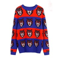 Gucci Round Neck  Sweater Women Fashion Multicolor Casual All-match Retro Tiger Pattern Long Sleeve Knitwear