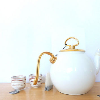 Vintage Teapot Chantal Royale West Germany Teapot Teekanne 1980s White 24K Gold Platted Handles and Lid Tea Strainer New Old Stock
