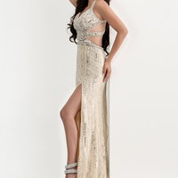 Jasz Couture 5819 Strappy Back Sequined Prom Dress
