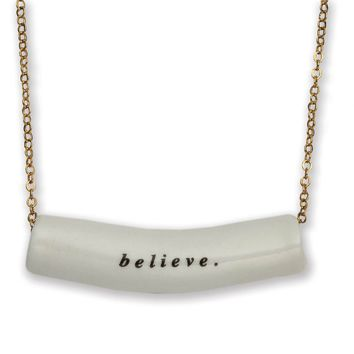 Rae Dunn Believe Cylinder Necklace