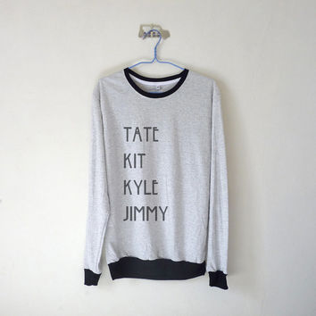 Tate Kit Kyle Jimmy Unisex Long Sleeve Tshirt /  Evan Peters / Tumblr Inspired / White Grey / Plus Size